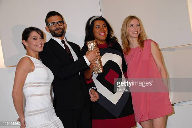 Emma de Caunes Vincent Paronnaud Marjane Satrapi and Lea Drucker pose at the Cesar Film Awards 2008 Press Room Theatre du Chatelet on February 22...