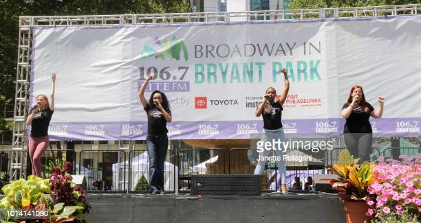 Emma Degerstedt Nicole Vanessa Ortiz Dionne D Figgins and Alysha Umphress from the cast of 'Smokey Joe's Café' perform at 1067 LITE FM's Broadway in...