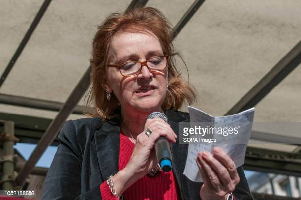 Emma Dent Coad Member of the Parliament speaks at the Antiracist counter demo in London Counter demonstration organised by United Against Racism...