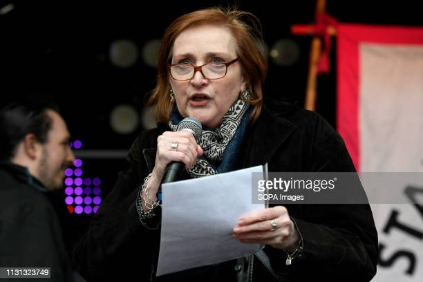 Emma Dent Coad MP seen speaking during an anti racist rally Antiracists gathered at Park Lane and marched through central London before gathering in...