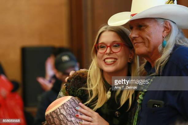 Emma Doody poses with actor Michael Horse who played deputy Hawk on the show Twin Peaks during the Twin Peaks UK Festival 2017 at Hornsey Town Hall...