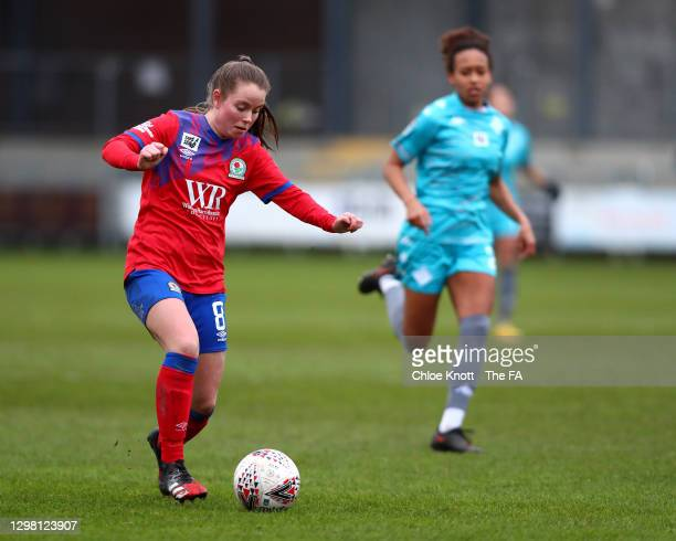 Emma Doyle of Blackburn Ladies looks to break past Atlanta Primus of London City Lionesses during the Barclays FA Women's Championship match between...