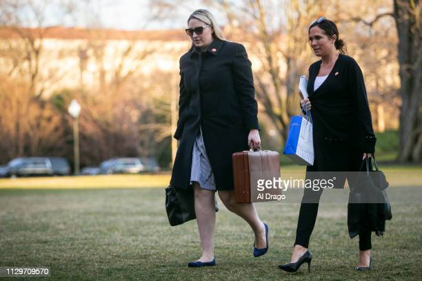 Emma Doyle White House principal deputy chief of staff and Stephanie Grisham communications director for First Lady Melania Trump arrive on the South...