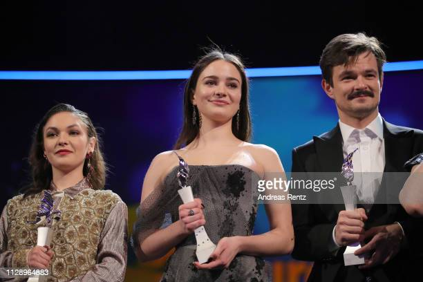 """Emma Drogunova , Aisling Franciosi and Dawid Ogrodnik are seen on stage at the European Shooting Stars 2019 ceremony and """"Vice"""" premiere during the..."""