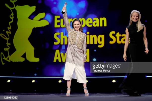 """Emma Drogunova and Martha De Laurentiis are seen on stage at the European Shooting Stars 2019 ceremony and """"Vice"""" premiere during the 69th Berlinale..."""