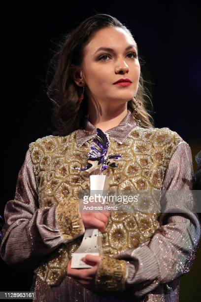 """Emma Drogunova is seen on stage at the European Shooting Stars 2019 ceremony and """"Vice"""" premiere during the 69th Berlinale International Film..."""