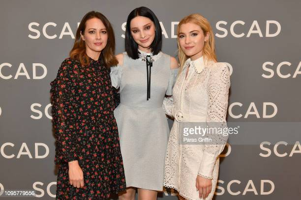 Emma Dumont Amy Acker and Skyler Samuels attend the The Gifted press junket during SCAD aTVfest 2019 at Four Seasons Hotel on February 8 2019 in...