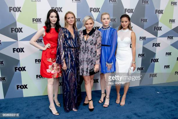 Emma Dumont, Amy Acker, Natalie Alyn Lind, Skyler Samuels, and Jamie Chung attend the 2018 Fox Network Upfront at Wollman Rink, Central Park on May...
