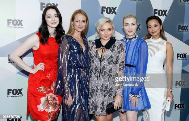 Emma Dumont, Amy Acker, Natalie Alyn Lind, Skyler Samuels and Jamie Chung attend 2018 Fox Network Upfront at Wollman Rink, Central Park on May 14,...