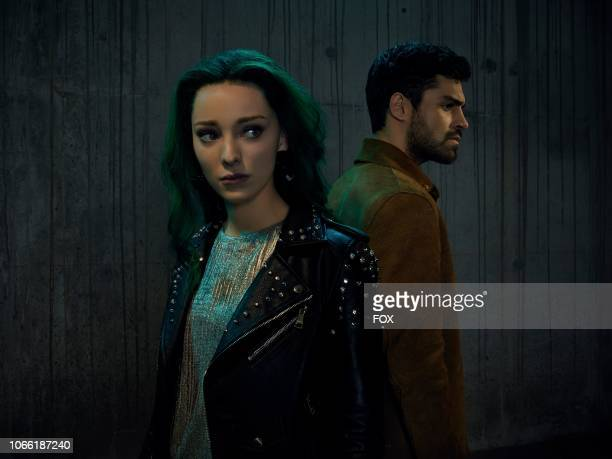 Emma Dumont as Polaris/Lorna Dane and Sean Teale as Eclips/Marcos Diaz and Amy Acker as Caitlin Strucker in Season Two of THE GIFTED premiering...