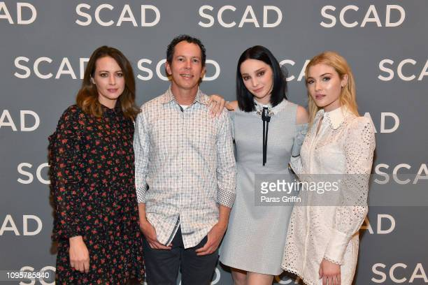Emma Dumont Matt Nix Amy Acker and Skyler Samuels attend the The Gifted press junket during SCAD aTVfest 2019 at Four Seasons Hotel on February 8...