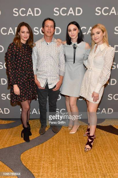 Emma Dumont Matt Nix Amy Acker and Skyler Samuels attend the 'The Gifted' press junket during SCAD aTVfest 2019 at Four Seasons Hotel on February 8...