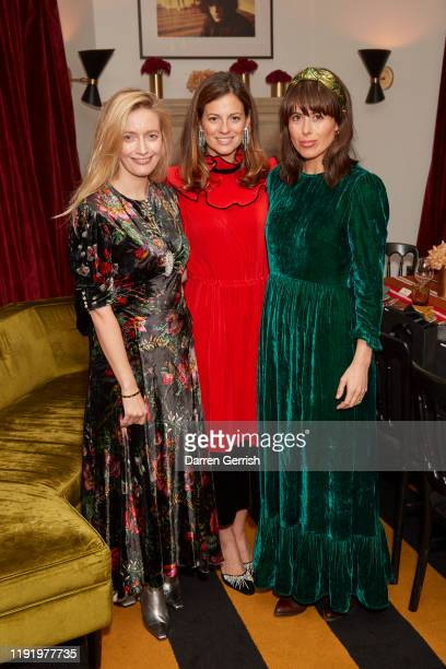 Emma Elwick Bates Serena Hood and Isabel Spearman attend Collagerie x Strathberry dinner on December 04 2019 in London England
