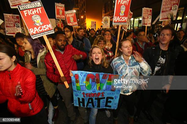 Emma Esselstyn a student at the University of Washington joins thousands of protesters march down 2nd Avenue on November 9 2016 in Seattle Washington...