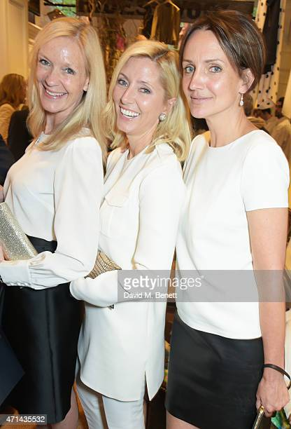 Emma Farah Marie Chantal Crown Princess of Greece and Saffron Aldridge attend the book launch party for India Hicks Island Style at Ralph Lauren...