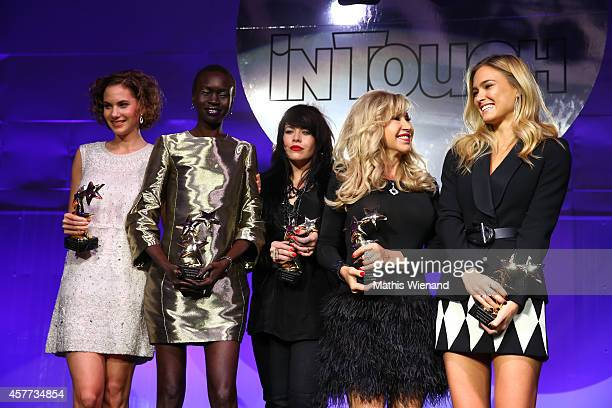 Emma Ferrer Alek Wek Alex Hepburn Carmen Geiss and Bar Rafaeli attend the InTouch Awards 2014 at Port Seven on October 23 2014 in Duesseldorf Germany