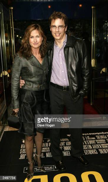 """Emma Forbes and her husband attend the UK charity premiere of """"The Italian Job"""" at the Empire Leicester Square September 15, 2003 in London, England."""
