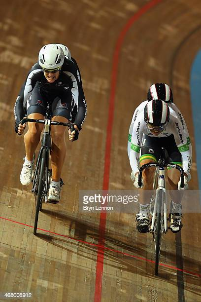 Emma Foy and Laura Fairweather of New Zealand in action in the OWmens's B Sprint during day four of the UCI Para-cycling Track World Championships at...