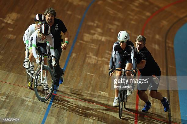 Emma Foy and Laura Fairweather of New Zealand in begin a round of the B Sprint on day four of the UCI Para-cycling Track World Championships at...
