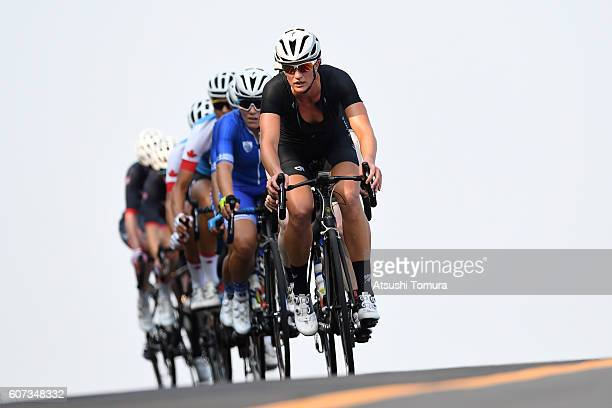 Emma Foy of New Zealand competes in women's road race B on day 10 of the Rio 2016 Paralympic Games at Pontal Cycling Road on September 17 2016 in Rio...