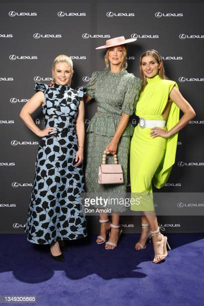 Emma Freedman, Delta Goodrem and Kate Waterhouse attend a Melbourne Cup media call on October 27, 2021 in Sydney, Australia.