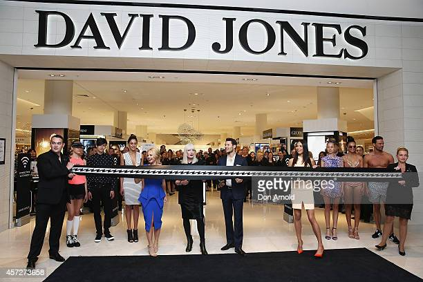 Emma Freedman, Doona Player, Jason Dundas and Jessica Gomes are seen during the official ribbon cutting during the David Jones Macquarie Store...