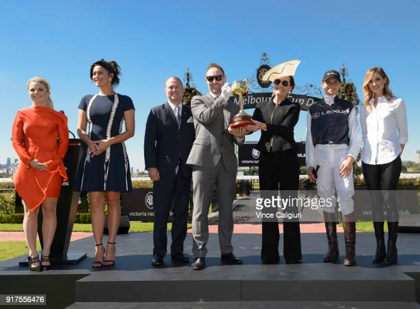 Emma Freedman Megan Gale Neil Perry Scott Thompson Amanda Elliott Francesca Cumani and Kate Waterhouse pose during the VRC Melbourne Cup Sponsorship...