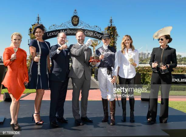Emma Freedman Megan Gale Neil Perry Scott Thompson Francesca Cumani Kate Waterhouse and Amanda Elliott VRC Chairman pose during the VRC Melbourne Cup...