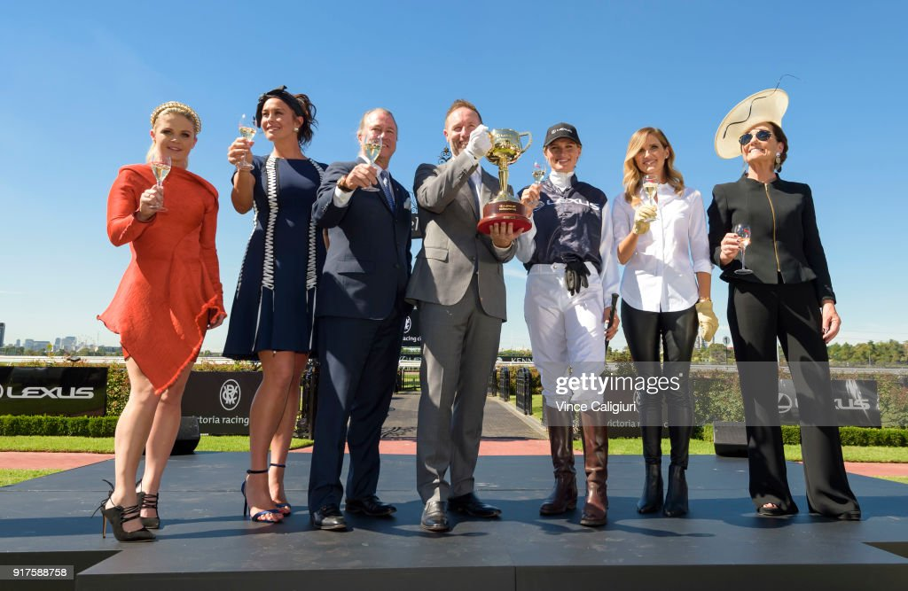 Emma Freedman, Megan Gale, Neil Perry, Scott Thompson ( Lexus CEO ) Francesca Cumani, Kate Waterhouse and Amanda Elliott VRC Chairman pose during the VRC Melbourne Cup Sponsorship Announcement at Flemington Racecourse on February 13, 2018 in Melbourne, Australia. The VRC announced global luxury lifestyle brand Lexus as the new Melbourne Cup Principal Partner at Flemington Racecourse.