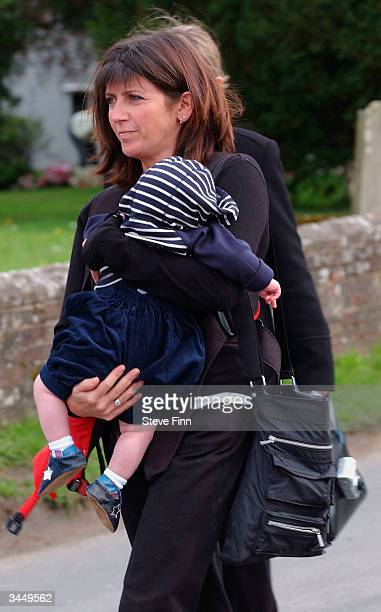 Emma Freud leaves the Funeral of Caron Keating following her death from breast cancer last week at Hever Church in Edenbridge on April 20 2004 in...