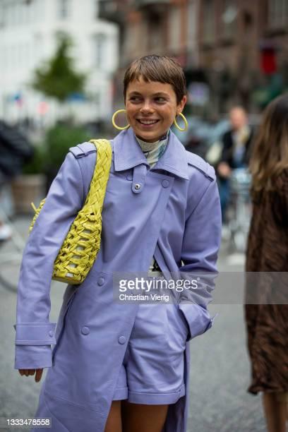 Emma Fridsell is seen outside The Garment on August 10, 2021 in Copenhagen, Denmark.