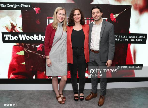 Emma G Fitzsimmons of The New York Times film producer Suzanne Hillinger and Brian Rosenthal of The New York Times attend FX and The New York Times'...