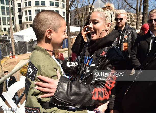 Emma Gonzalez and Halsey attend March For Our Lives on March 24 2018 in Washington DC