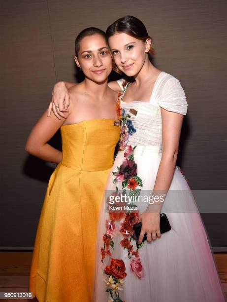Emma Gonzalez and Millie Bobby Brown attend the 2018 Time 100 Gala at Jazz at Lincoln Center on April 24 2018 in New York CityÊ