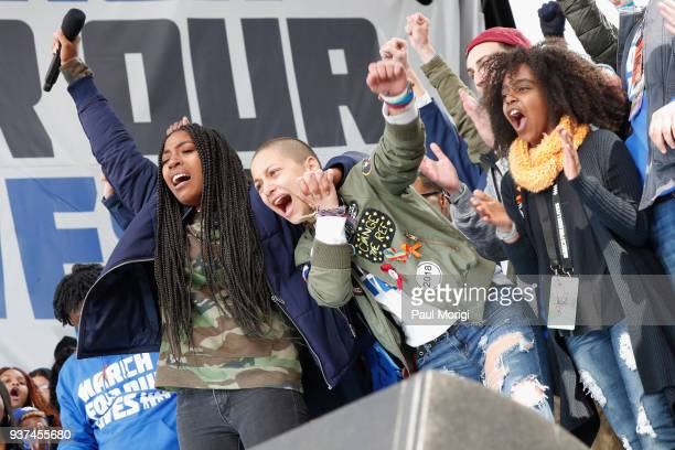 Emma Gonzalez and Noami Wadler speak onstage with students at March For Our Lives on March 24 2018 in Washington DC