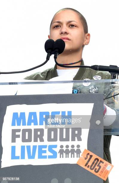 Emma Gonzalez cries onstage at March For Our Lives on March 24 2018 in Washington DC