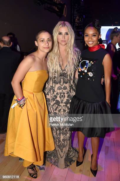 Emma Gonzalez Kesha and Yara Shahidi attend the 2018 TIME 100 Gala at Jazz at Lincoln Center on April 24 2018 in New York City