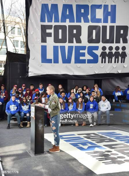Emma Gonzalez poses onstage at March For Our Lives on March 24 2018 in Washington DC