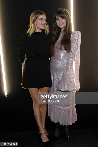 Emma Greenwell and Millie Brady attend the dunhill Dylan Jones PreBAFTA party at dunhill Bourdon House on January 29 2020 in London United Kingdom