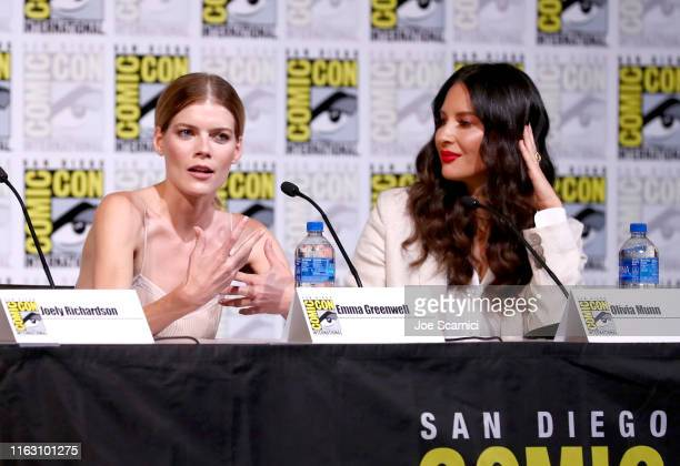 "Emma Greenwell and Olivia Munn attend STARZ ""The Rook"" at San Diego ComicCon 2019 at San Diego Convention Center on July 19 2019 in San Diego..."
