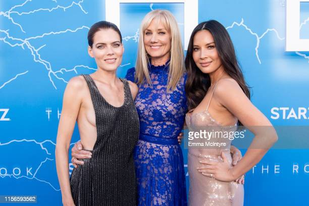 Emma Greenwell Joely Richardson and Olivia Munn attend the LA Premiere of Starz's The Rook at The Getty Museum on June 17 2019 in Los Angeles...