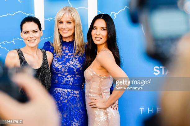 Emma Greenwell Joely Richardson and Olivia Munn attends the LA premiere of Starz's The Rook at The Getty Museum on June 17 2019 in Los Angeles...