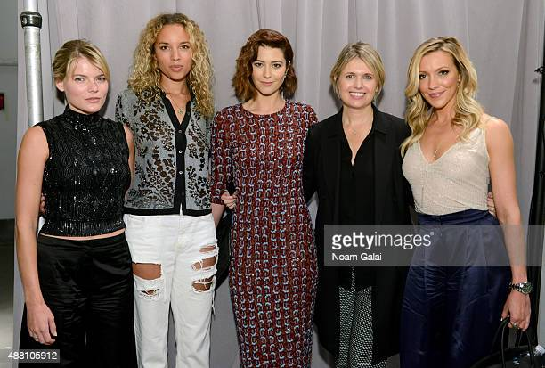 Emma Greenwell Phoebe CollingsJames Mary Elizabeth Winstead Jenny Packham and Katie Cassidy attend backstage at Jenny Packham Spring 2016 during New...