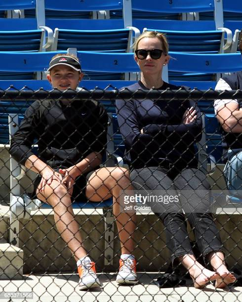 Emma Gretzky and Janet JonesGretzky attend the NCAA Womens Tennis National Championship first round matches at RalphsStraus Tennis Center at...