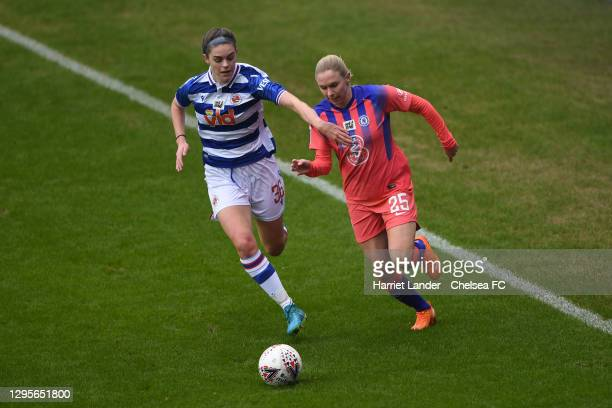 Emma Harries of Reading battles for possession with Jonna Andersson of Chelsea during the Barclays FA Women's Super League match between Reading...