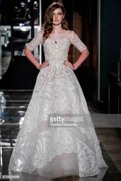 Emma Harris walks the runway wearing Reem Acra at Tiffany Co on April 18 2017 in New York City