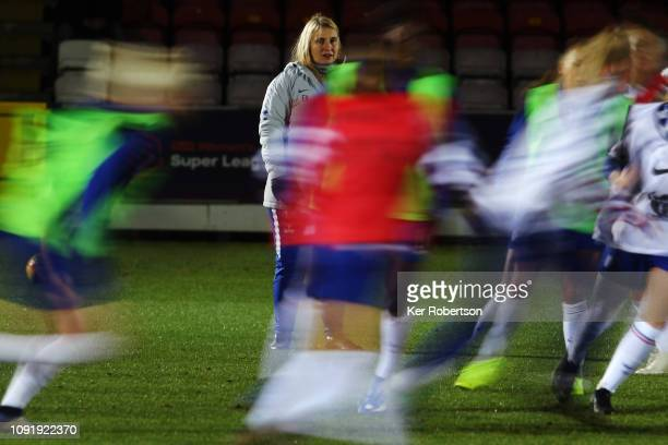 Emma Hayes Chelsea Women's team manager coaches her side before the Chelsea Women v Reading Women FA Continental Tyres Cup match at The Cherry Red...