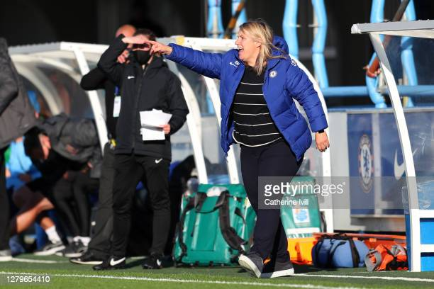 Emma Hayes Head Coach of Chelsea Women's gives her team instructions during the Barclays FA Women's Super League match between Chelsea Women and...