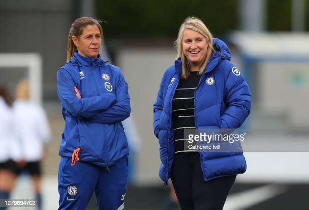 Emma Hayes manager of Chelsea and assistant coach Denise Reddy prior to the Barclays FA Women's Super League match between Chelsea Women and...