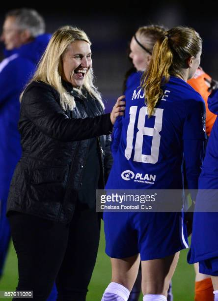 Emma Hayes manager of Chelsea celebrates with Maren Mjelde after the UEFA Women's Champions League match between Chelsea ladies and Bayern Munich at...